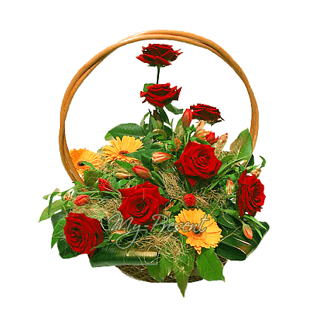 Basket with roses, gerbers decorated with verdure