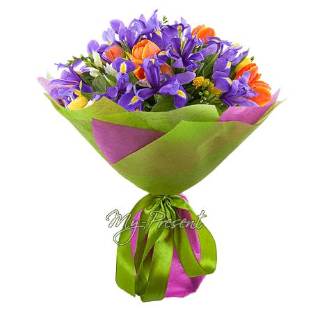 Bouquet of tulips, irises and alstroemerias
