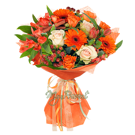 Bouquet of roses, gerberas and alstroemerias