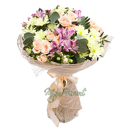 Bouquet of roses, alstroemerias and chrysanthemums
