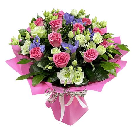 Bouquet of roses, lisianthus, irises