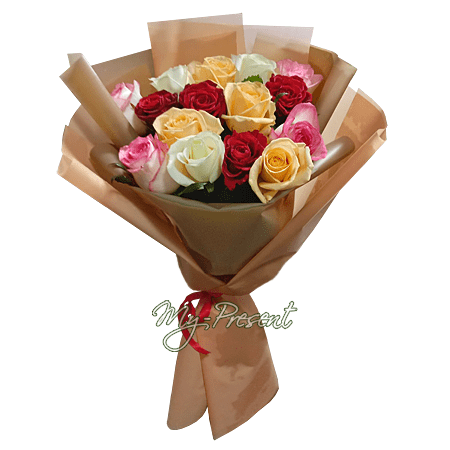 Bouquet of different color roses (80 cm.)