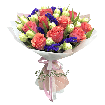 Bouquet of roses, tulips and limoniums