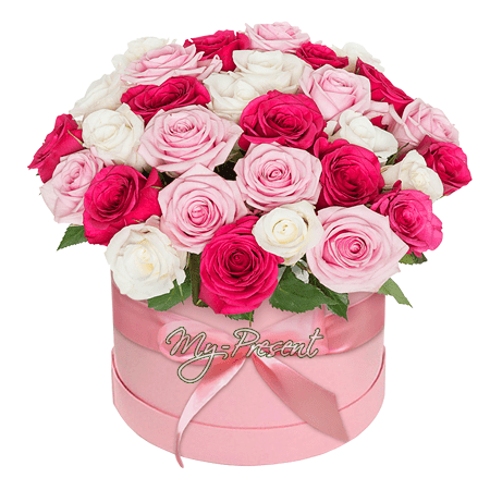 Different color roses in box in Astana