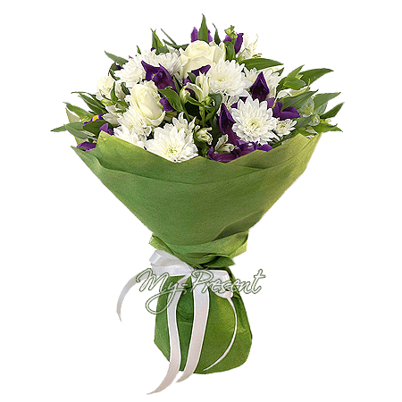 Bouquet of roses, chrysanthemums, irises and alstroemerias