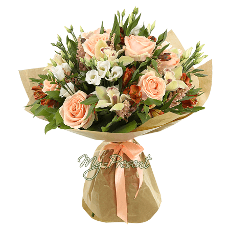 Bouquet of roses, orchids, lisianthus