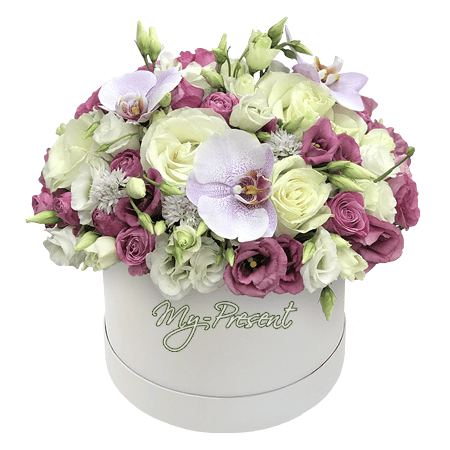 Roses, orchids and lisianthus in box