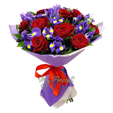Bouquet of roses and  irises in Minsk