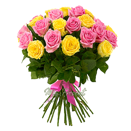 Bouquet of yellow and pink roses (60 cm.) in Vienna