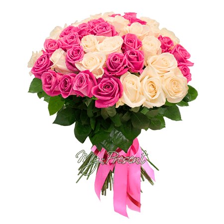 Bouquet of white and pink roses (50 cm.) in Rostov-on-Don