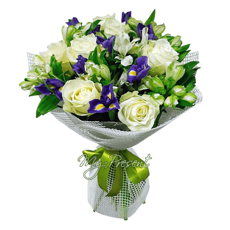 Bouquet of roses, irises and freesias