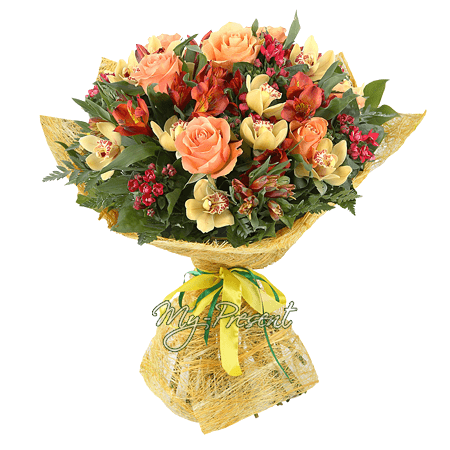 Bouquet of roses, orchids and alstroemerias