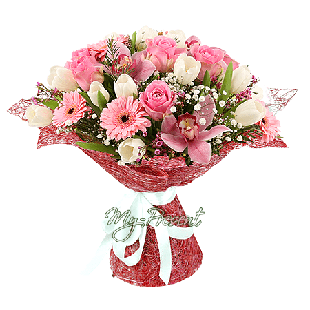Bouquet of roses, orchids, tulips and gerberas