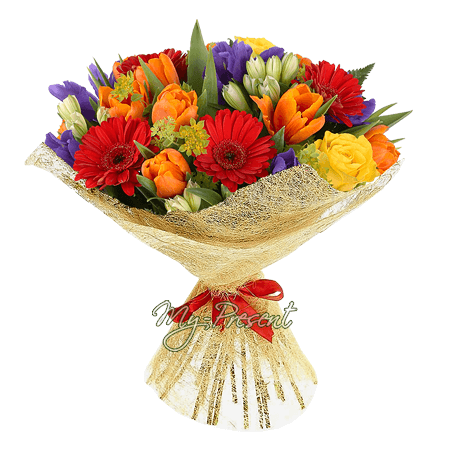 Bouquet of tulips, different, alstroemerias and irises