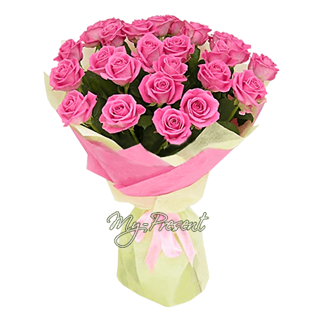 Bouquet of pink roses (80 cm.) in Tbilisi