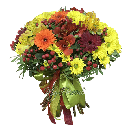 Bouquet of chrysanthemums, alstroemerias, gerberas.