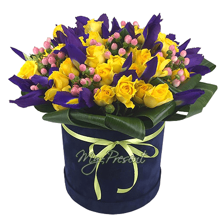 Composition with roses and irises in a box
