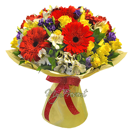 Bouquet of roses, gerberas, alstroemerias in Yalta