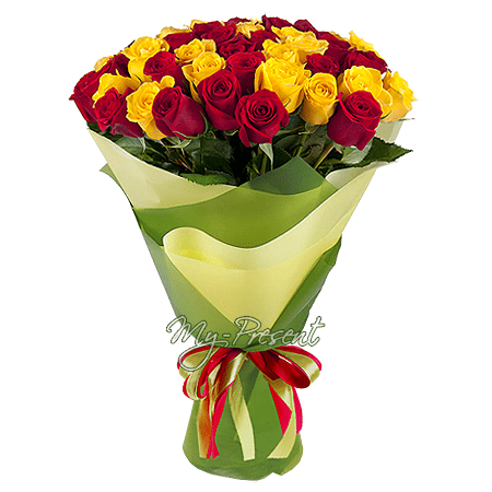Bouquet of yellow and orange roses (80 cm.)