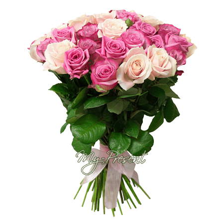 Lilac and pink roses (80 cm.)