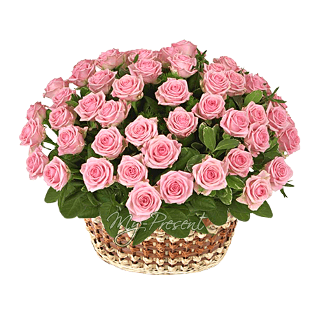 Basket with pink roses in Riga