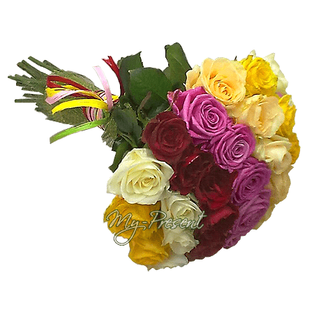 Bouquet of different color roses (60 cm.) in Amsterdam
