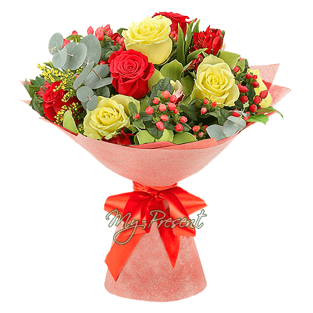 Bouquet of roses, alstroemerias, orchids and giperikum