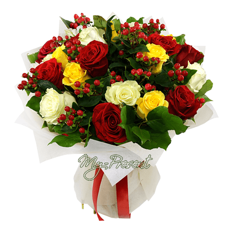 Bouquet of different color roses and giperikum