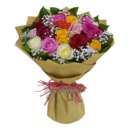 Bouquet of different color roses (60 cm.)