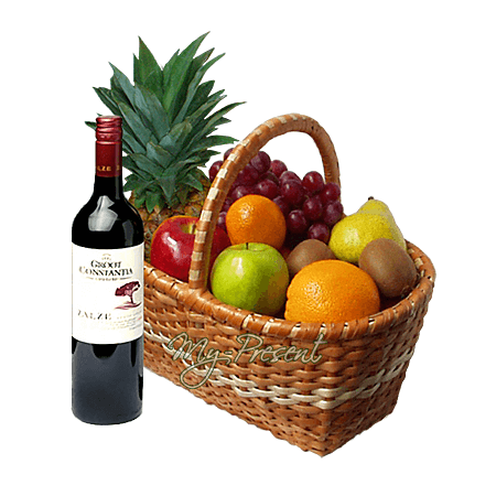 Basket with fruits and wine